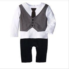 48b5b864d2c3 Bow Tie Gentleman Jumpsuits Newborn Boy Clothes