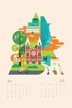 Calendar Illustrations by Tu Bui More about the calender city illustrations on WE AND THE COLOR.