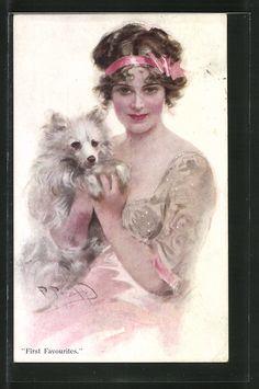 old postcard: Künstler-AK junge Frau ist stolz auf ihren kleinen Hund