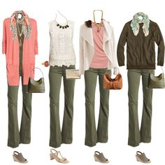 Looking Stylish is under construction - Don't just stick to blue jeans – great colour combination for Warm or Soft/warm colouring – www.lookingstylis… Source by - Casual Work Outfits, Chic Outfits, Spring Outfits, Fashion Outfits, Olive Green Pants Outfit, Army Green Pants, Peach Pants Outfit, Outfits With Green Pants, Grey Pants