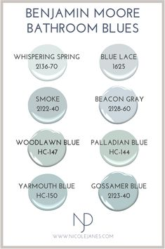 Benjamin Moore Powder Room and Bathroom Paint Colors. Interior Paint Colors, Paint Colors For Home, House Colors, Paint Colors For Bathrooms, Paint Colours, Blue Bathroom Paint, Colors For Small Bathroom, Blue Grey Paint Color, Magnolia Paint Colors