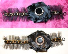Bracelette Tutorial; Large link chain, tuelle, satin handmade flower,  & Button.