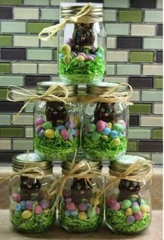 Great Easter gifts for people you love. Can put colored Krispie treats in bottom or use colored coconut in the bottom.