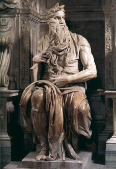 Michelangelo - Moses is an imposing figure – he is nearly eight feet high sitting down! He has enormous muscular arms and an angry, intense look in his eyes. Under his arms he carries the tablets of the law – the stones inscribed with the Ten Commandments that he has just received from God on Mt. Sinai.