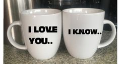 I Love You I know Star Wars Couple White Mugs by VinylPrincesses