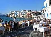 Mykonos shops and restaurants on the beach