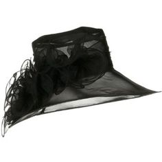 Large Brim Organza Hat with Large Flower - Black W25S67E SSLA. $41.99