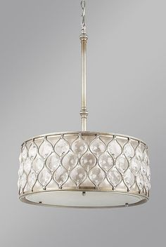 NEW Feiss Lucia Oval Pendant Burnished Silver F2568/3BUS | LampsUSA