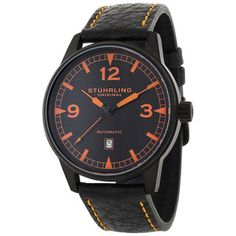 @Overstock - Stuhrling Original Men's Tuskegee Automatic Watch - Make a statement in this black automatic watch by Stuhrling Original. The contrast between Texas orange and black on both the face and the strap evokes boldness. Swiss craftsmanship will allow you to enjoy this timepiece for a long time.  http://www.overstock.com/Jewelry-Watches/Stuhrling-Original-Mens-Tuskegee-Automatic-Watch/4355812/product.html?CID=214117 $110.69