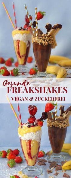 Ein super leckeres Rezept für zwei vegane Milkshakes ohne Zucker aka gesunde Freakshakes in den Sorten Schoko-Banane und Mango-Kokos.