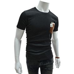 (GTS03-CHARCOAL) Slim Fit Leather Patched Double Pocket Round Neck Short Sleeve Tshirts