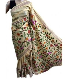 Cream Kantha work Silk Saree LWZE027