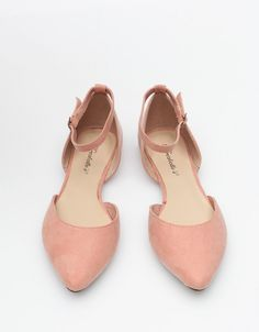 flats with ankle strap in blush pink