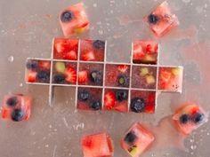 cubitos de frutas y zumo