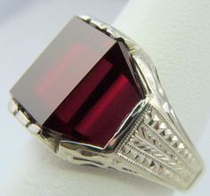 MENS RING ANTIQUE VINTAGE COLLECTIBLE DECO ESTATE 1920'S 10K WHITE GOLD .