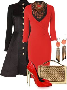 A fashion look from December 2012 featuring red dresses, Temperley London and patent leather pumps. Browse and shop related looks. Fashion 2017, Love Fashion, Plus Size Fashion, Passion For Fashion, Autumn Fashion, Fashion Looks, Fashion Outfits, Womens Fashion, Classy Outfits
