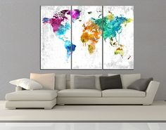 Canvas prints add a unique touch to your home. Modern, stylish and unique design will be the most special piece of your decor. Especially for those who like abstract works, black and white acrylic painting can be prepared in desired sizes  large world map canvas print wall art, Large abstract wall Art, wonders of the World Map wall art, extra large wall art canvas No 10S30  ◆ GALLERY WRAPPED CANVASES We print high quality printer on canvas. 3 cm thick (depth) stretcher bars, side covered…