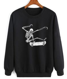 Skateboarding Skeleton Sweater - Clothfusion Custom T-Shirts No Minimum Cool Outfits, Casual Outfits, Earl Sweatshirt, Halloween Sweatshirt, Vans Outfit, Pullover, Winter Sweaters, Custom T, Comfortable Outfits
