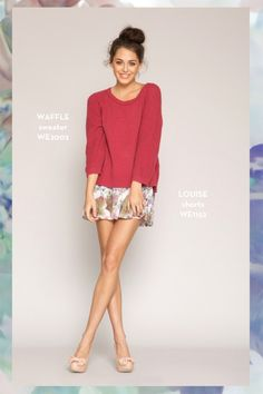 Waffle Sweater and Louise Shorts. SHOP www.whitneyeve.com