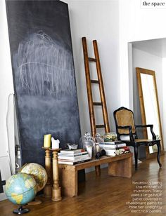 To hide electrical panels. (Behind chalkboard) Love this!