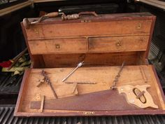 Vintage Craftsmans Wood Tool Box on Etsy, $225.00