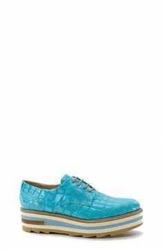 Blue Print Lace-up Platforms. Zinda #SS16 Collection