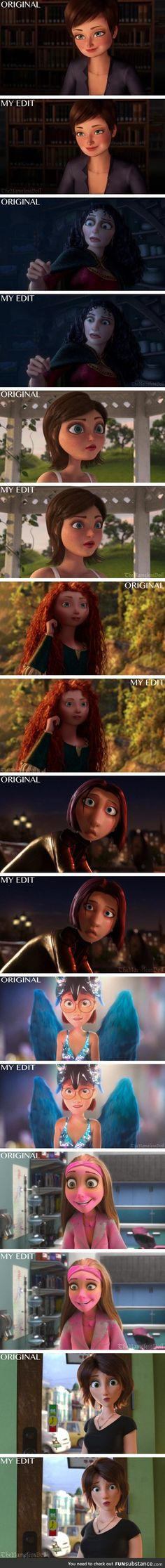 Disney/non-Disney characters with more realistic faces