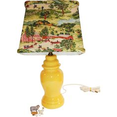 This is a charming original vintage 1940's yellow pottery country farmhouse cottage lamp with its original country barkcloth shade. The first two