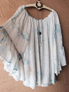 Image of Kimchi & Blu Ombre blue cape sleeve off shoulder beach bohemian gypsy coverup