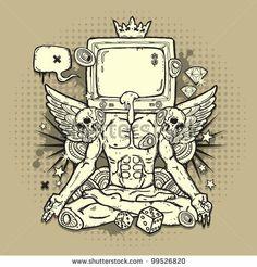 Stylish grunge illustration with TV by Igorij, via Shutterstock