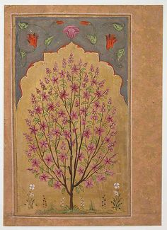 Flowering Tree - Jahangir (1605–27) - Illustrated album leaf, Opaque watercolor and gold on paper.