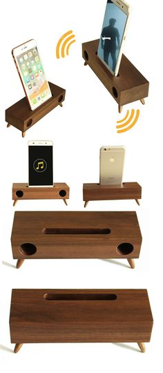 A Black Walnut Wooden Speaker iPhone Cell Phone Sound amplifier Cell Phone Stand Holder Mount Holder Trumpet Holder Amplifier Loudspeaker Amplification Stands for iPhone 77 Plus and other smartphones