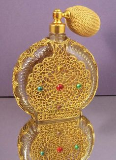 Jeweled Vintage Perfume Bottle with by chanteclairInteriors