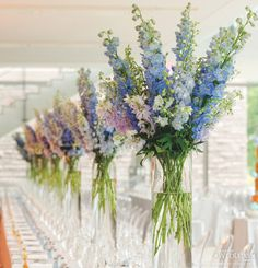 A ceremony style idea. Tall clear vases filled with pastel delphiniums placed at the front of the room. Simple but so visually impactful.