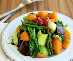 Simple vegetable stir fry with bok choy, butternut squash, green beans, and eggplant.