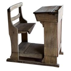 Rare Victorian oak school teacher's desk with 2 brass ink wells, with a cupboard on the front. Beautifully made with dovetailed joints.