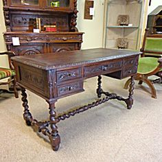 19th Century French Antique Oak Desk