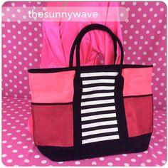 NEW Victoria's Secret Island Tote Beach Pink Black Striped Gym Travel Book Bag #VictoriasSecret #TotesShoppers