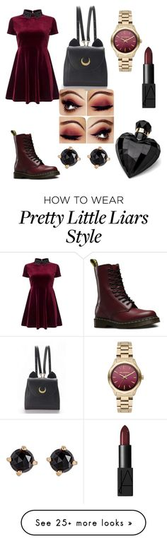 """""""aria from pretty little liars"""" by graceandmelaninn on Polyvore featuring Miss Selfridge, Dr. Martens, WithChic, Karl Lagerfeld, NARS Cosmetics, Lipsy and Irene Neuwirth"""