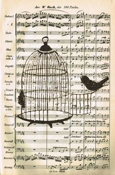 Knick of Time: Free Printable - Bird and Birdcage Music Page from http://knickoftimeinteriors.blogspot.com/