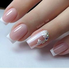 Elegant Nails, Classy Nails, Stylish Nails, Bride Nails, Wedding Nails, French Nail Designs, Nail Art Designs, Bridal Nails Designs, Elegant Nail Designs