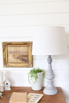Refinished Table Lamp {Before+After} - This Mamas Dance Farmhouse Lamps, Rustic Farmhouse, Farmhouse Style, Bedroom Lamps, Home Decor Bedroom, Kids Bedroom, Bedroom Ideas, Master Bedroom, Country Lamps