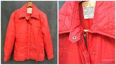 Vintage 70's Skyr Cherry Red Winter Ski Parka Zip Snap Ladies Size Large by ElkHugsVintage on Etsy