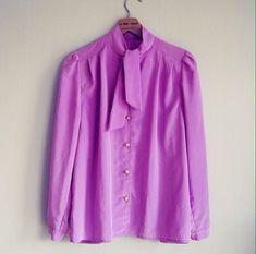 Blouse size S-M vintage purple bow blouses 80s 90s by woolpleasure
