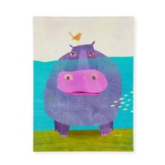 Happy Hippo Wall Art - hang on the wall above the bookcase, opposite the striped wall (see floor plan).