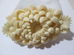 Celluloid Floral Deeply Carved Buckle Mum or Chrysanthemum Japan 1960s Mid Century Early Plastics Vintage Flower