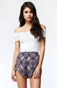 Kendall and Kylie Smocked Off-The-Shoulder Cropped Top at PacSun.com