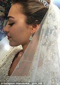 The bride wore a diamond tiara