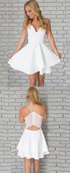 white homecoming dress, short homecoming dress, 2017 homecoming dress, spaghetti straps homecoming dress