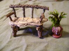 faerie bench, fairy bench, faerie house furniture, doll house furniture